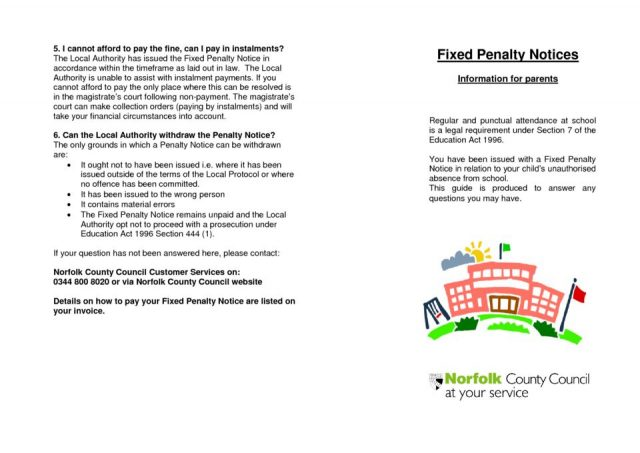thumbnail of Fixed Penalty Notices leaflet for parent