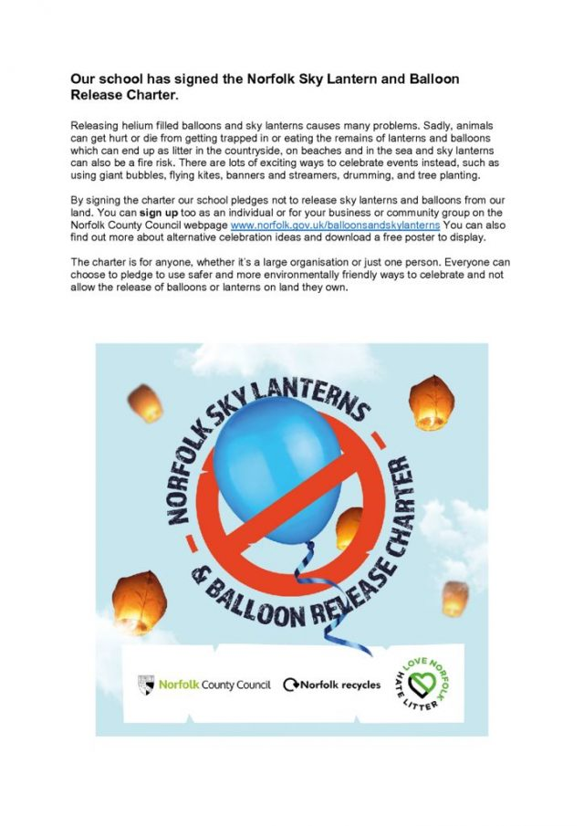 thumbnail of Our school has signed the Norfolk Sky Lantern and Balloon Release Charter flyer