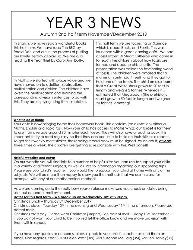 thumbnail of Year 3 Newsletter Autumn 2 2019
