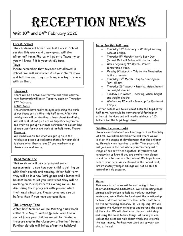 Reception-News-10th-and-24th-Feb-2020