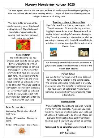 Nursery Newsletter Autumn 2020