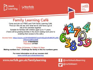 Family Learning Cafe Fri 16 October