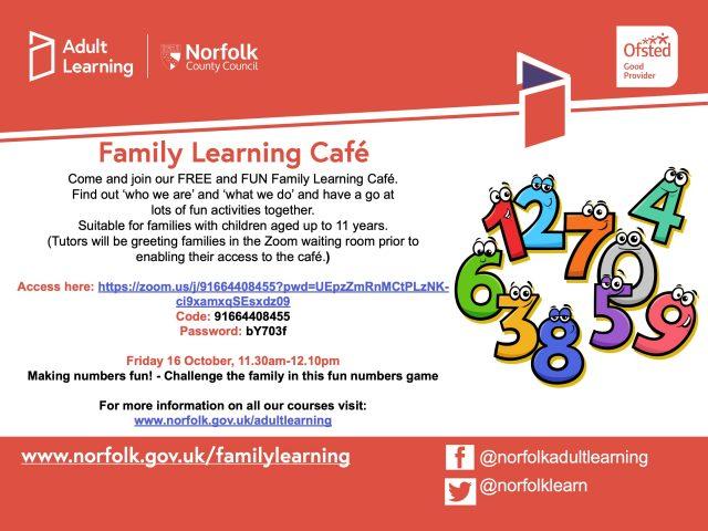Family Learning Cafe Fri 16 October