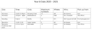 Year 6 Clubs