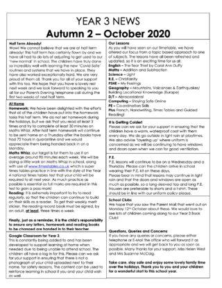 Year 3 News Autumn 2 October