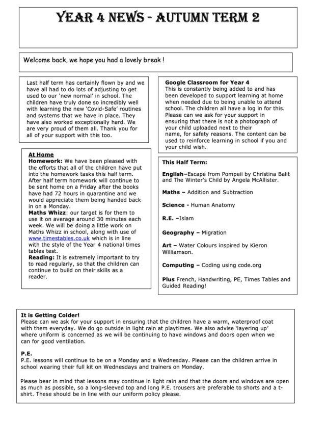 Year 4 Autumn 2 Newsletter 2020