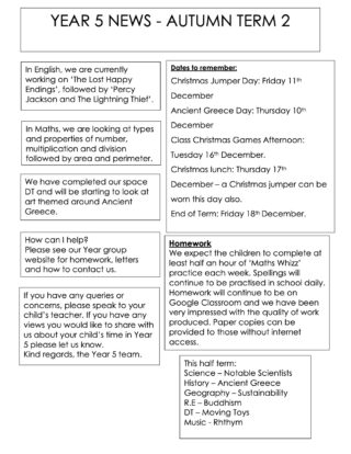 Year 5 Autumn 2 Newsletter