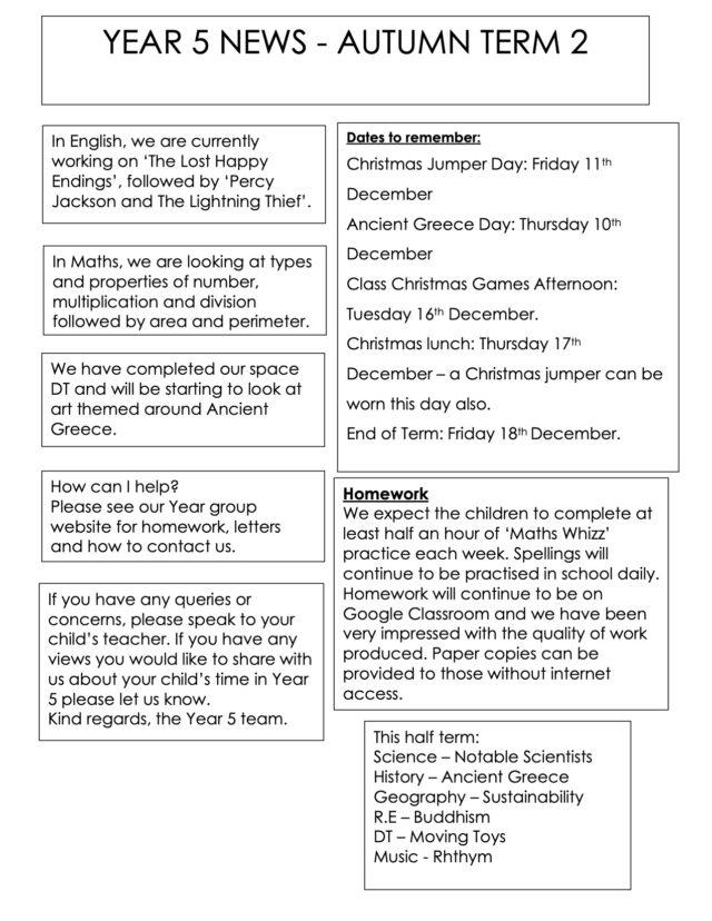Year 5 Autumn 2 Newsletter