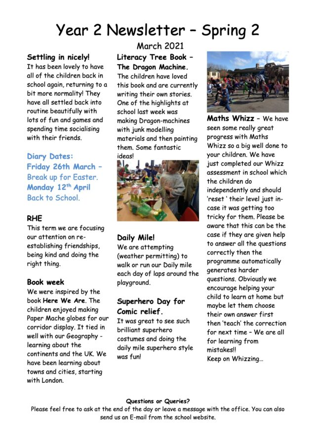 Year 2 Newsletter Spring March 2021