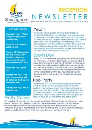Reception Summer Newsletter July 2021