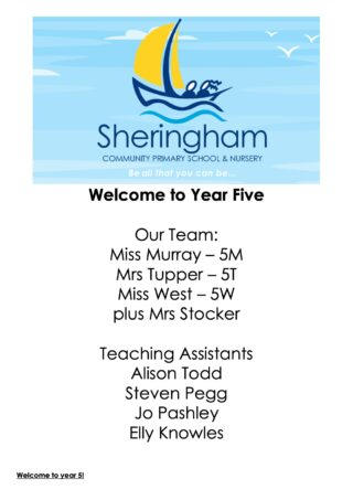 Y5 Welcome Booklet 2021 22